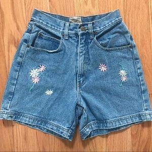 Vintage Denim Floral Embroidered Shorts
